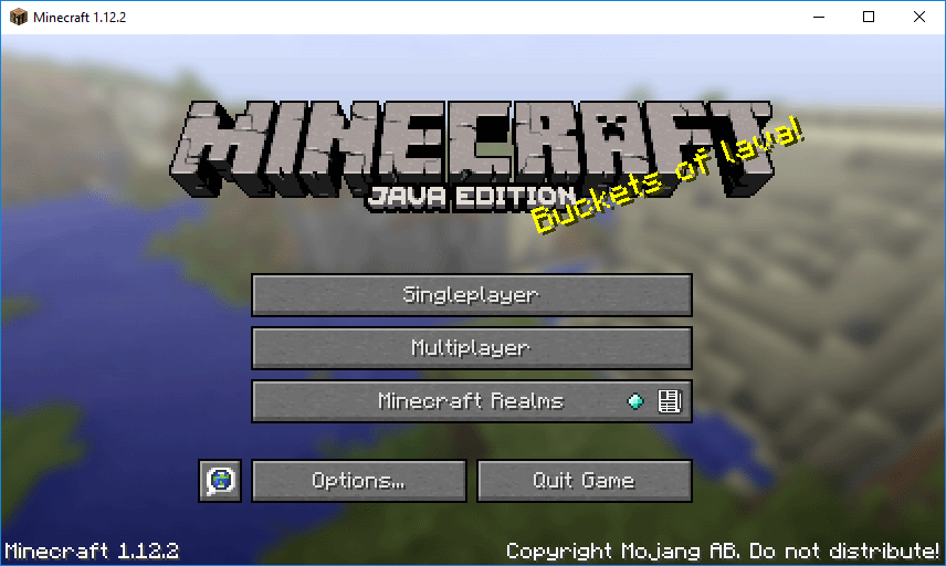 Minecraft home screen